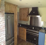 blue and oak kitchen design hudderfield